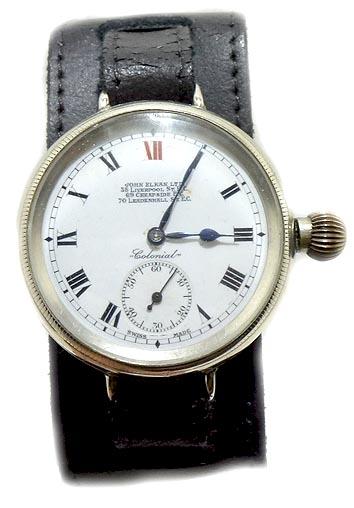 Trench Watch/John Elkan Ltd early silver colonial trench style watch 1925