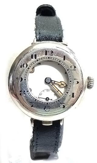 SILVER HALF HUNTER WRIST WATCH WW1 TRENCH CIRCA 1916