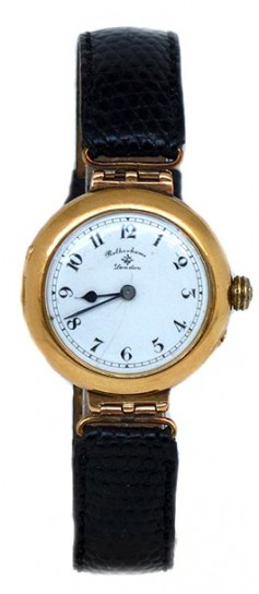 ENGLISH RARE ROTHERHAMS 18K GOLD LADIES WRISTWATCH 1915.