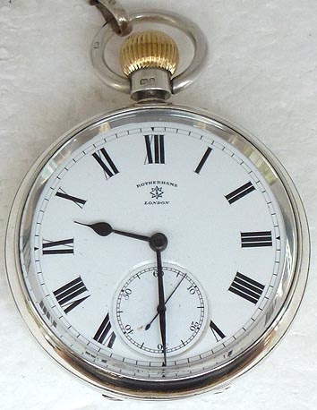 ROTHERHAMS SILVER HEAVY TOP WINDS POCKETWATCH CIRCA 1900
