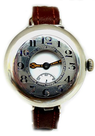 SILVER HALF HUNTER TRENCH WRIST WATCH ONE OF THE FIRST MADE TYPE CIRCA 1915