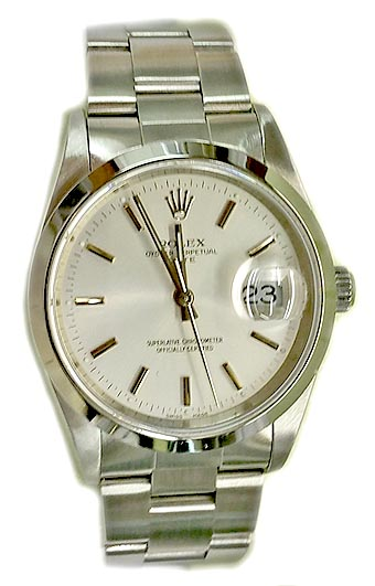 ROLEX OYSTER PERPETUAL DATE STAINLESS STEEL SAPPHIRE 2002