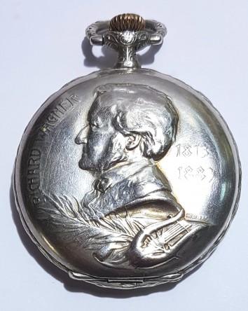 Longines rare Silver hunter Beethoven & wagner pocketwatch cieca 1900