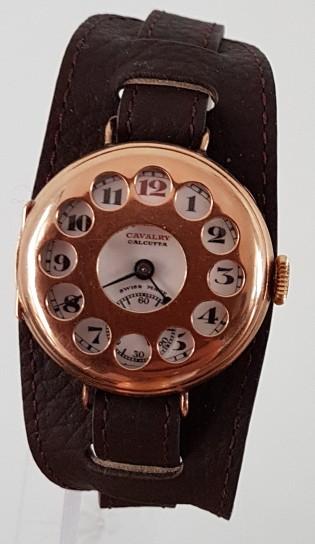 Anglo Swiss Watch Co Cavalry Calcutta 14k Gold Grate Trench Wristwatch Circa 1918