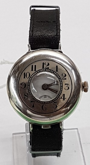 Trench first world watch half hunter silver wrist watch cieca 1916