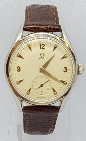 Omega manual wind small seconds stainless steel sturdy case circa 1950s
