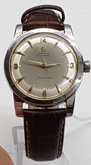 Omega Seamaster Bumper two tone dial stainless steel gentlemans wristwatch circa 1953