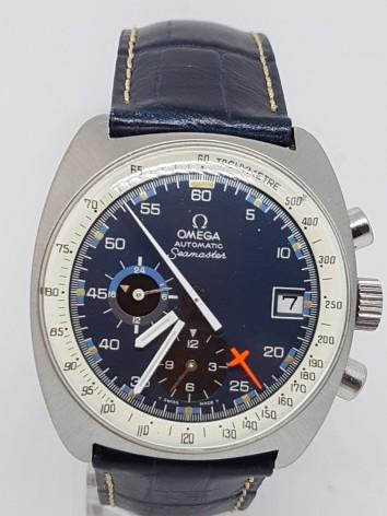 Omega Automatic Seamaster chronograph blue face with rare box circa 1970s