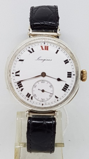 LONGINES FLAIRD LUGS SILVER TRENCH WIST WATCHES CIRCA 1917