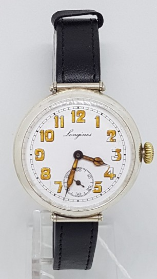 LONGINES FLEXIBLE LUGS  SILVER TRENCH WATCH 3 PIECE CASE CIRCA 1917