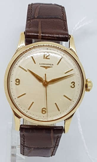 Longines 9ct gold manual wind center seconds watch dated 1959