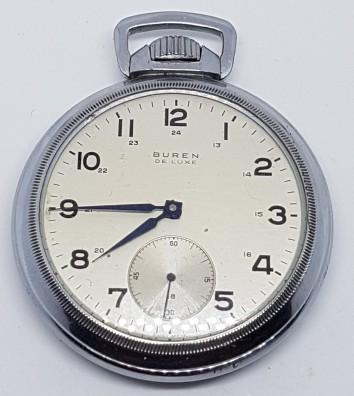 Buren screw and back nickel railway pocket watch circa 1930s
