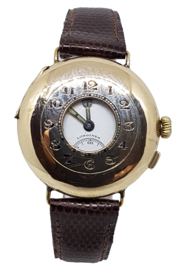 Longines trench watch 9ct gold half hunter jeweled to the center circa 19