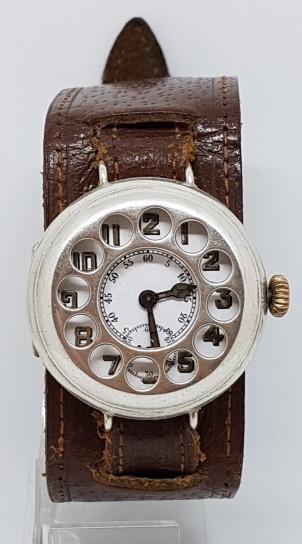 A Nice Rare WW1 Solid Silver Shrapnel Guard Telephone Case Trench Wristswatch circa 1917