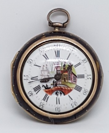 HALEY & SON PICTURE OF TOWN SQUARE PILLAR VERGE PAIR CASE GILT POCKET WATCH 1790