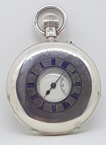 J.W.BENSON SILVER ENGLISH HALF HUNTER POCKET WATCH CIRCA 1907