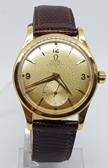 OMEGA RARE CHRONOMETER SOLID 18K GOLD AUTOMATIC BUMPER DATED 1948