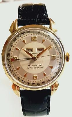 MOVADO TRIPLE DATE ' CALENDOMATIC ' SOLID 18K WITH RARE AUTOMATIC BUMPER DATEDATE 1950S