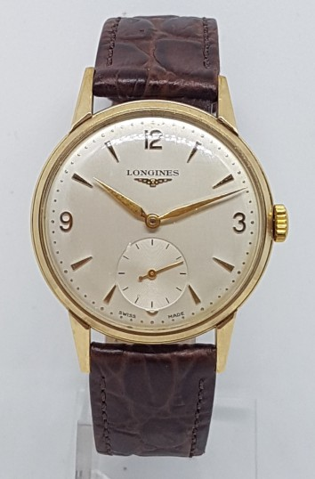 LONGINES 9CT GOLD DRESS SMALL SECONDS  MANUAL WIND CIRCA 1955