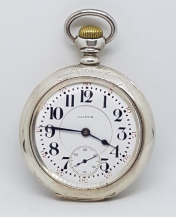 ILLINOIS WATCH CO USA POCKET WATCH SILVER 925 STIRLING CASE WIND CIRCA 1880